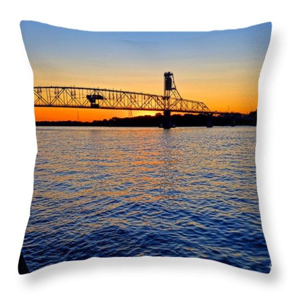 Steel Bridge Silk Water Throw Pillow by Olivier Le Queinec