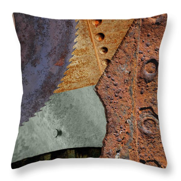 Steel Collage Throw Pillow by Fran Riley