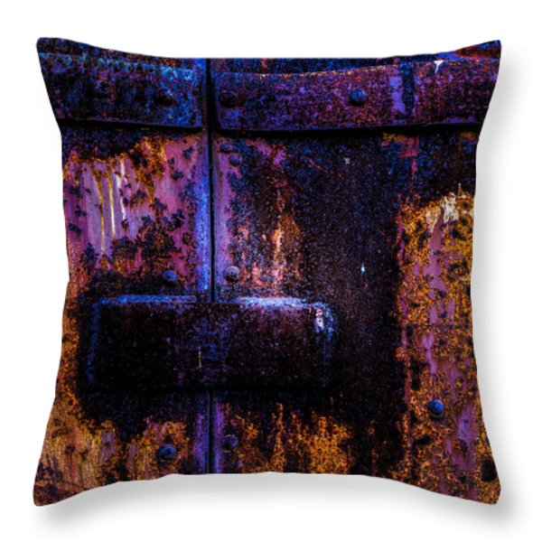 Steel Door Number Three Throw Pillow by Bob Orsillo