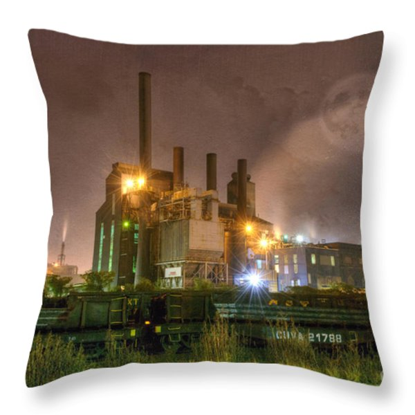 Steel Mill at Night Throw Pillow by Juli Scalzi