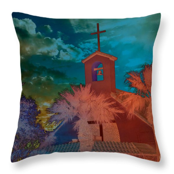 Steeple bell tower Throw Pillow by Beverly Guilliams