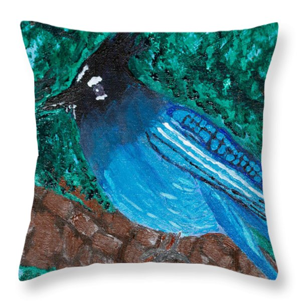 Stellar's Jay Throw Pillow by Lloyd Alexander