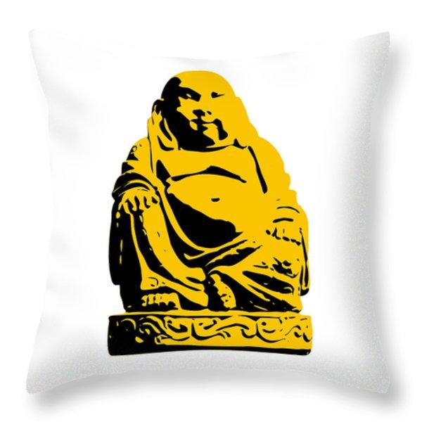 Stencil Buddha Yellow Throw Pillow by Pixel Chimp