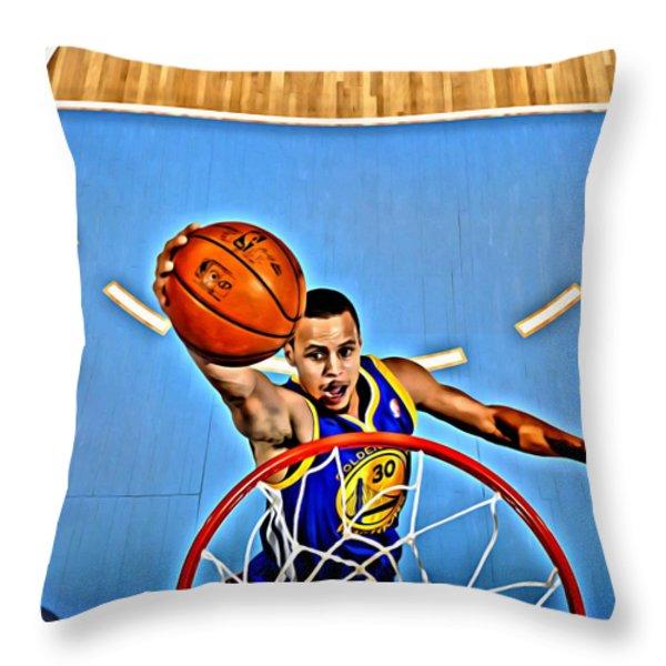 Steph Curry Throw Pillow by Florian Rodarte