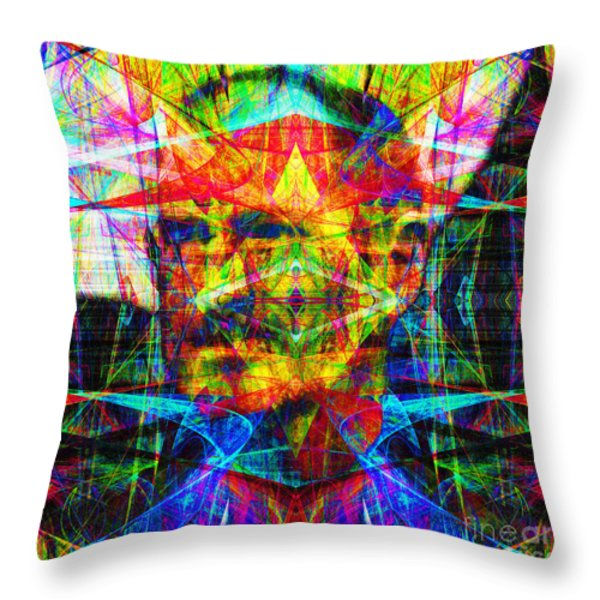 Steve Jobs Ghost In The Machine 20130618 Square Throw Pillow by Wingsdomain Art and Photography