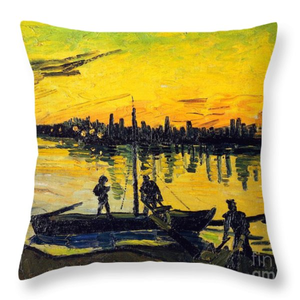Stevedores In Arles Throw Pillow by Vincent van Gogh