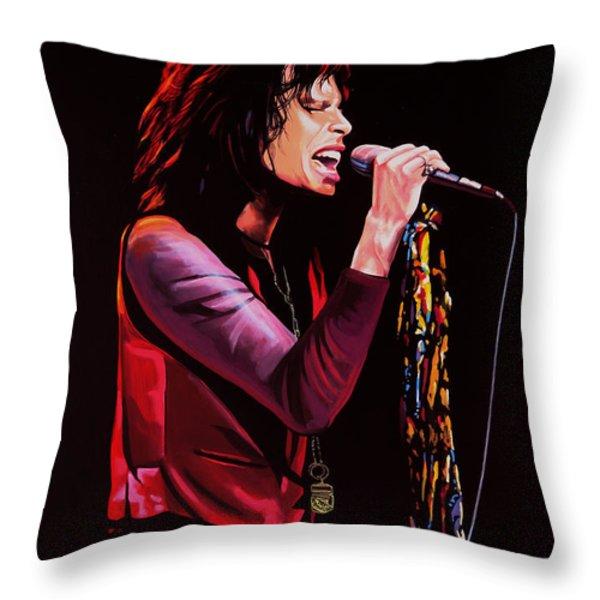 Steven Tyler in Aerosmith Throw Pillow by Paul  Meijering