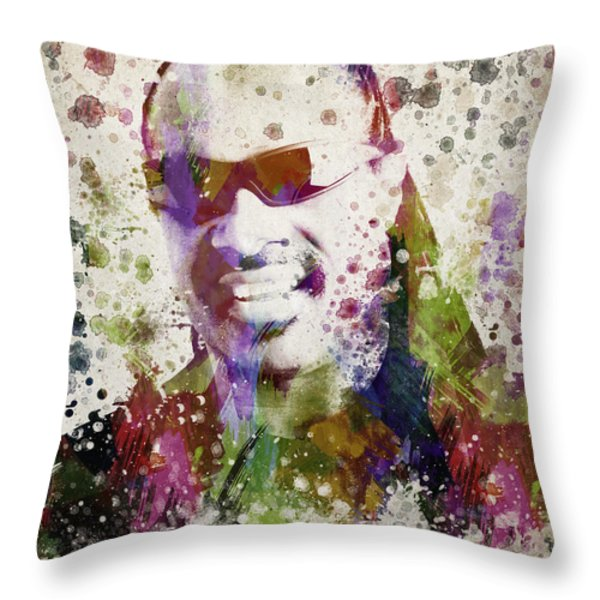 Stevie Wonder Portrait Throw Pillow by Aged Pixel