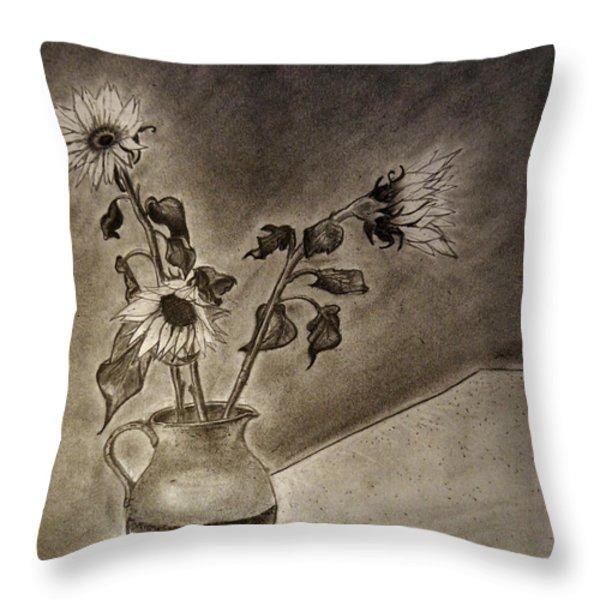 Still Life Ceramic Pitcher With Three Sunflowers Throw Pillow by Jose A Gonzalez Jr