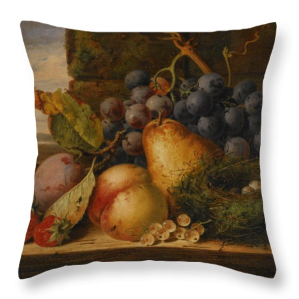 Still Life Grapes Pares Birds Nest Throw Pillow by Edward Ladell