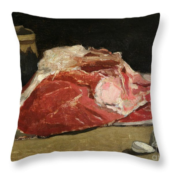 Still Life The Joint Of Meat Throw Pillow by Claude Monet