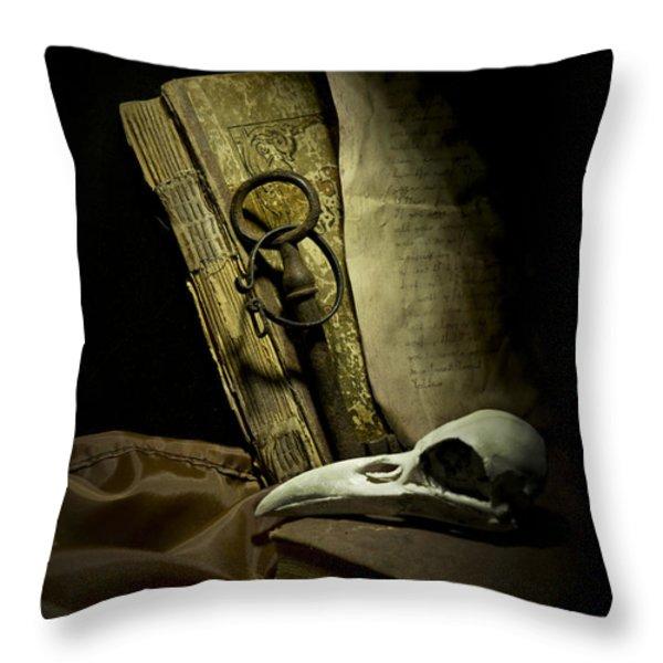 Still life with a bird skull Throw Pillow by Jaroslaw Blaminsky