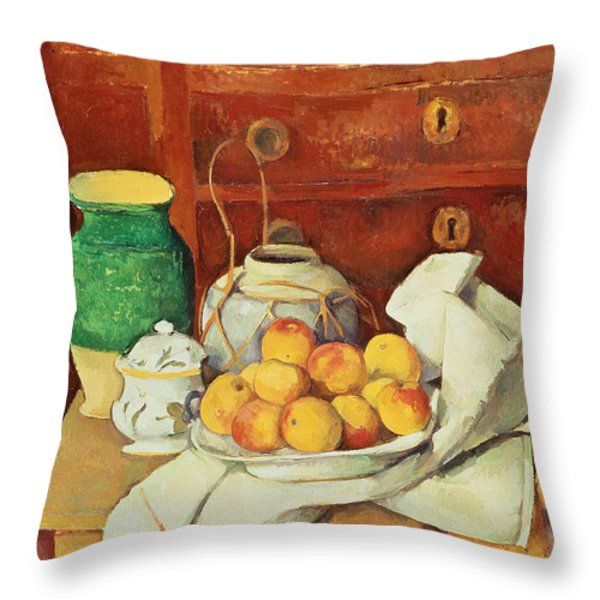 Still Life With A Chest Of Drawers Throw Pillow by Paul Cezanne