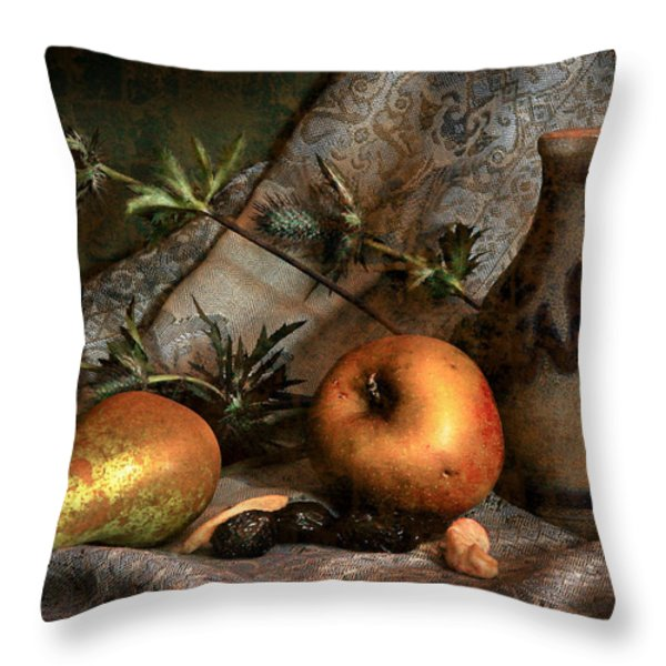 Still Life With Apples And Pears And Thistle Throw Pillow by Hugo Bussen