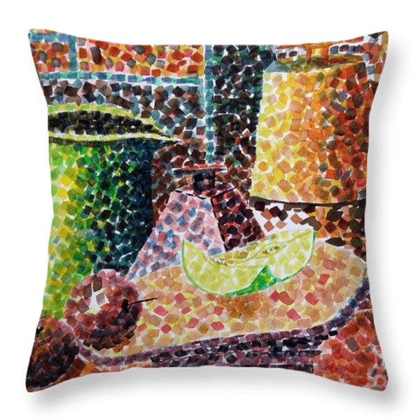 Still Life With Green Jug Painting Throw Pillow by Caroline Street