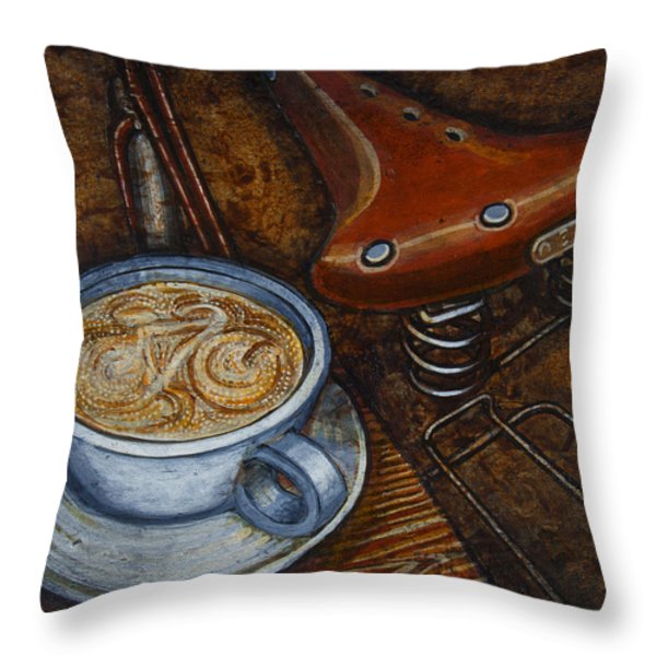 Still life with ladies bike Throw Pillow by Mark Howard Jones
