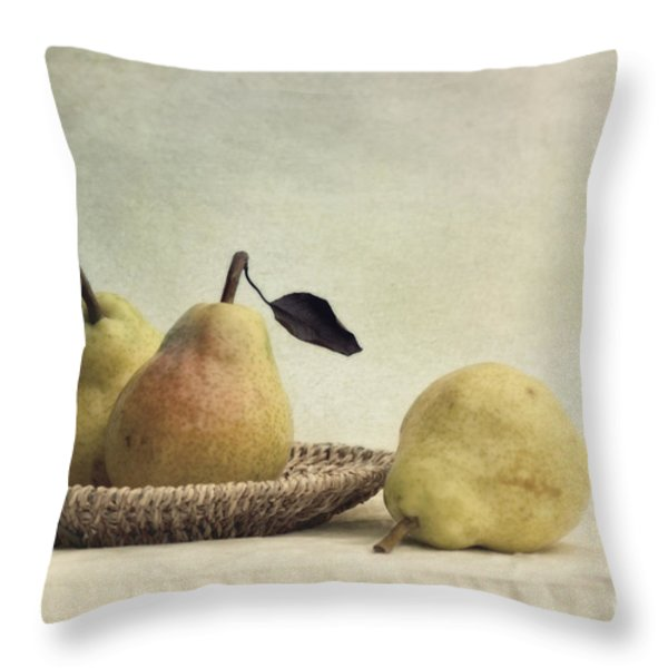 still life with pears Throw Pillow by Priska Wettstein