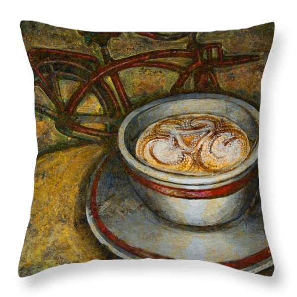 Still life with red cruiser bike Throw Pillow by Mark Howard Jones