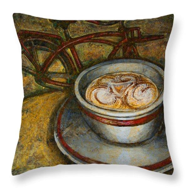 Still life with red cruiser bike Throw Pillow by Mark Howard Jones