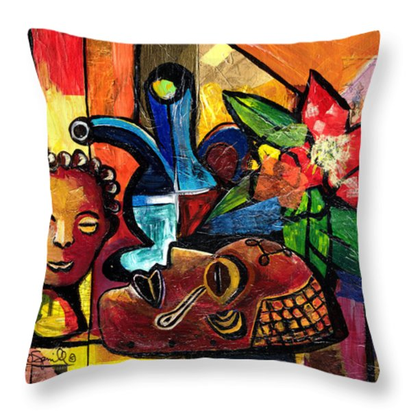 Still Life with Terracotta and Mask 2008 Throw Pillow by Everett Spruill