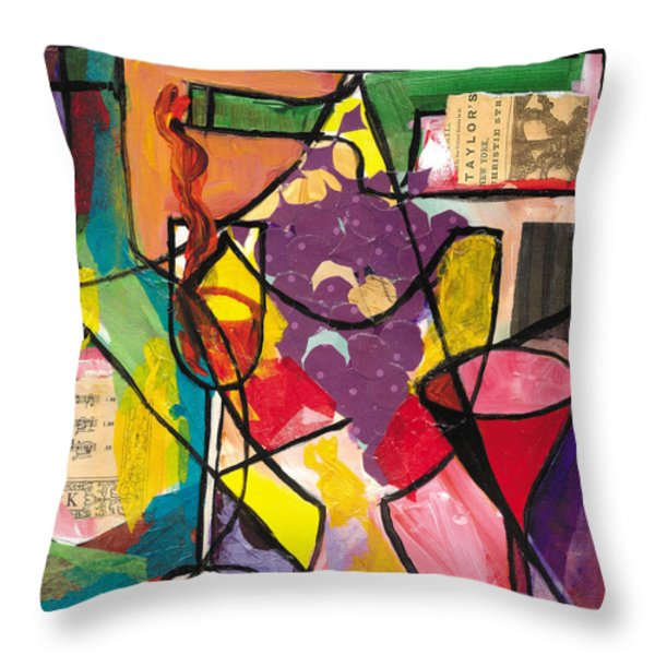 Still Life With Wine And Fruit B Throw Pillow by Everett Spruill