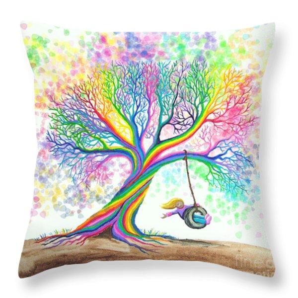 Still More Rainbow Tree Dreams Throw Pillow by Nick Gustafson