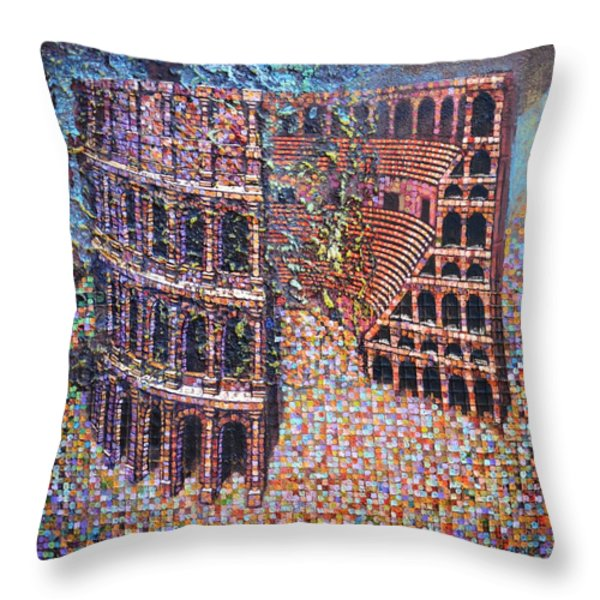 Still Stadium Throw Pillow by Mark Howard Jones
