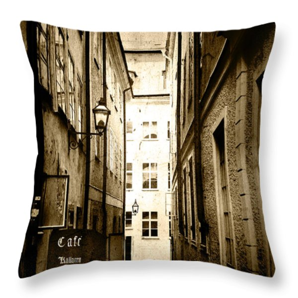 Stockholm Cafe Throw Pillow by Joan McCool