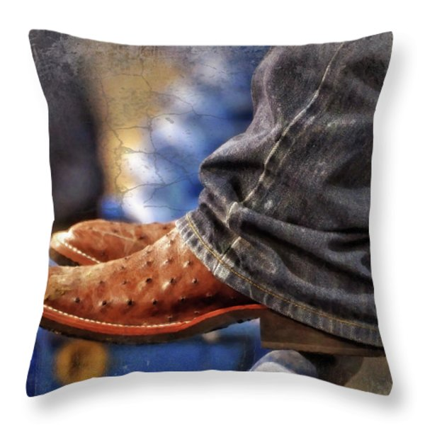Stockshow Boots III Throw Pillow by Joan Carroll