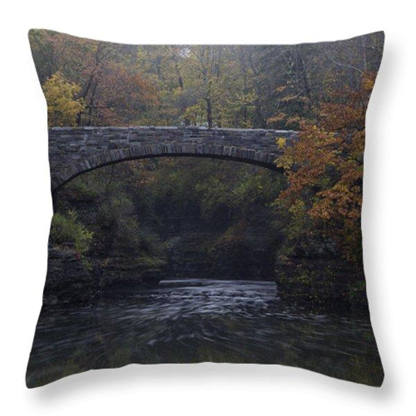 Stone Bridge in Autumn II Throw Pillow by Michele Steffey