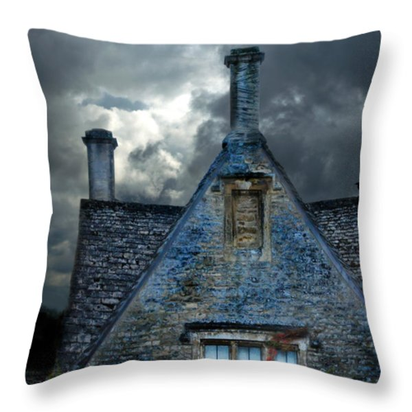 Stone Cottage in a Storm Throw Pillow by Jill Battaglia