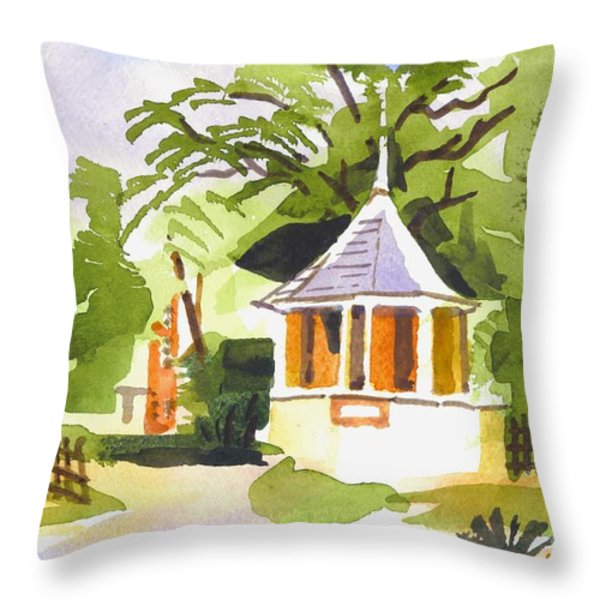 Stone Gazebo At The Maples Throw Pillow by Kip DeVore