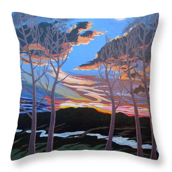 Stone House Supper Club Trees Throw Pillow by Vanessa Hadady BFA MA