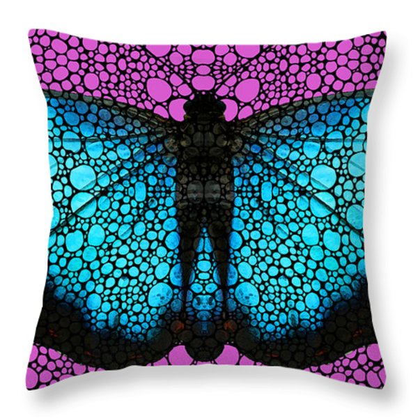Stone Rock'd Butterfly 2 By Sharon Cummings Throw Pillow by Sharon Cummings