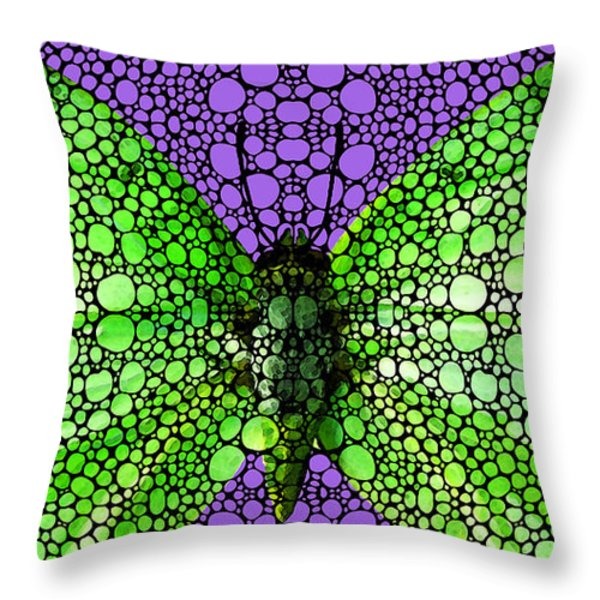 Stone Rock'd Butterfly 3 By Sharon Cummings Throw Pillow by Sharon Cummings