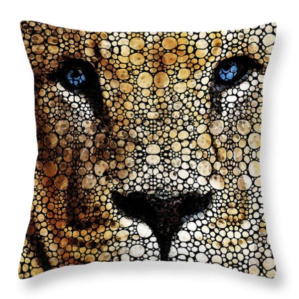 Stone Rock'd Lion 2 - Sharon Cummings Throw Pillow by Sharon Cummings