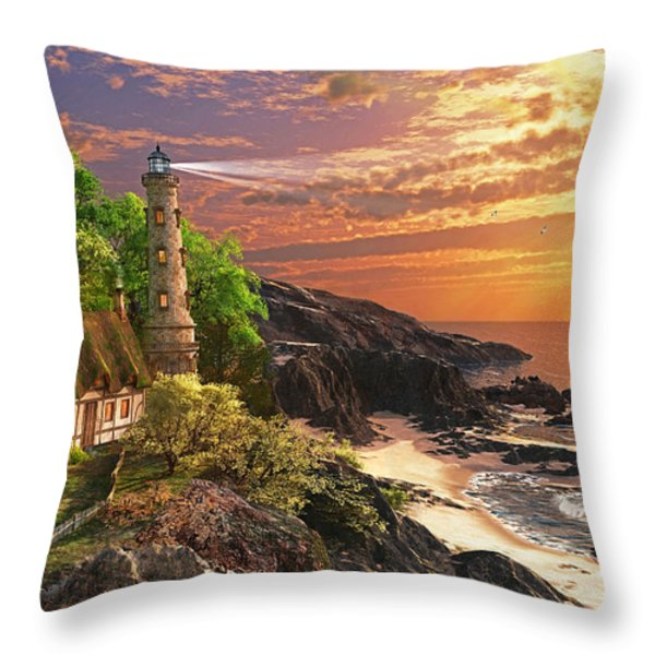 Stoney Cove Lighthouse Throw Pillow by Dominic Davison