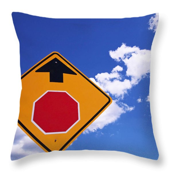 Stop Ahead Throw Pillow by Rona Black