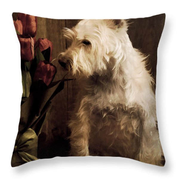 Stop and Smell the Flowers Throw Pillow by Edward Fielding