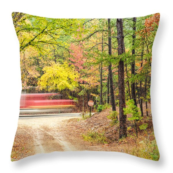 Stop - Beaver's Bend State Park - Highway 259 Broken Bow Oklahoma Throw Pillow by Silvio Ligutti