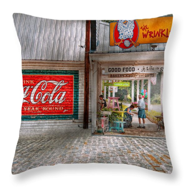 Store Front - Life is Good Throw Pillow by Mike Savad