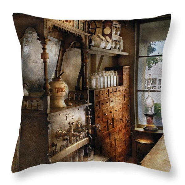 Store - Turn of the century soda fountain Throw Pillow by Mike Savad
