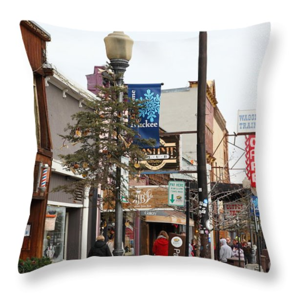 Storefront Shops in Truckee California 5D27489 Throw Pillow by Wingsdomain Art and Photography