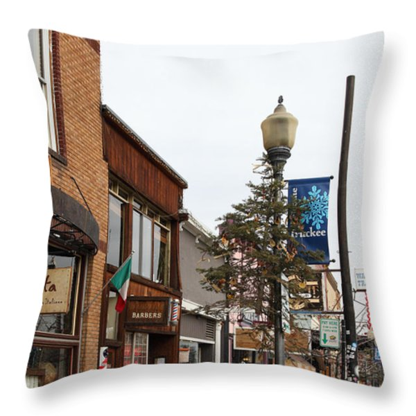 Storefront Shops in Truckee California 5D27490 Throw Pillow by Wingsdomain Art and Photography