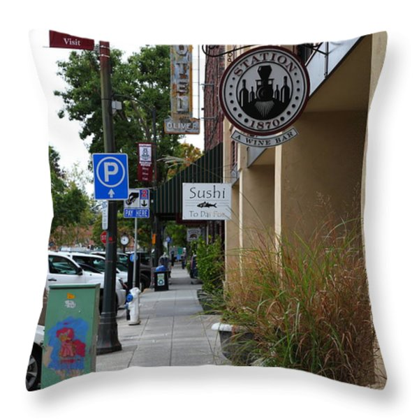 Storefronts In Historic Railroad Square Area Santa Rosa California 5D25806 Throw Pillow by Wingsdomain Art and Photography
