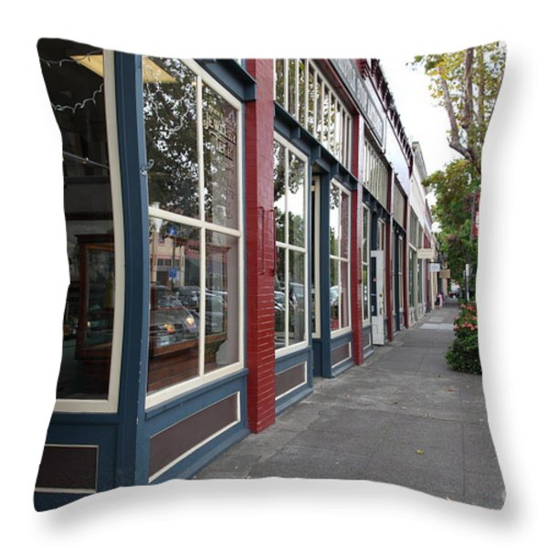 Storefronts In Historic Railroad Square Area Santa Rosa California 5D25856 Throw Pillow by Wingsdomain Art and Photography