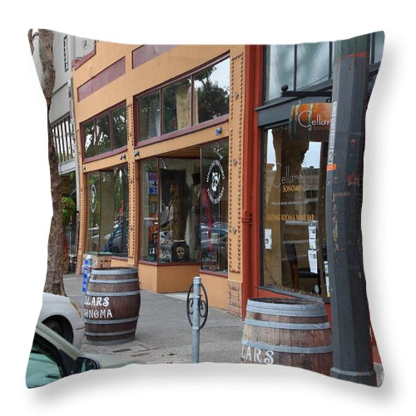 Storefronts In Historic Railroad Square Santa Rosa California 5D25804 Throw Pillow by Wingsdomain Art and Photography