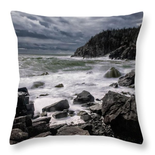 Storm at Gulliver's Hole Throw Pillow by Marty Saccone