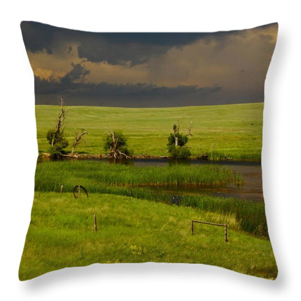Storm Crossing Prairie 1 Throw Pillow by Robert Frederick
