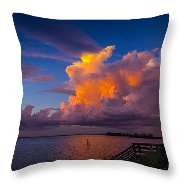 Storm on Tampa Throw Pillow by Marvin Spates